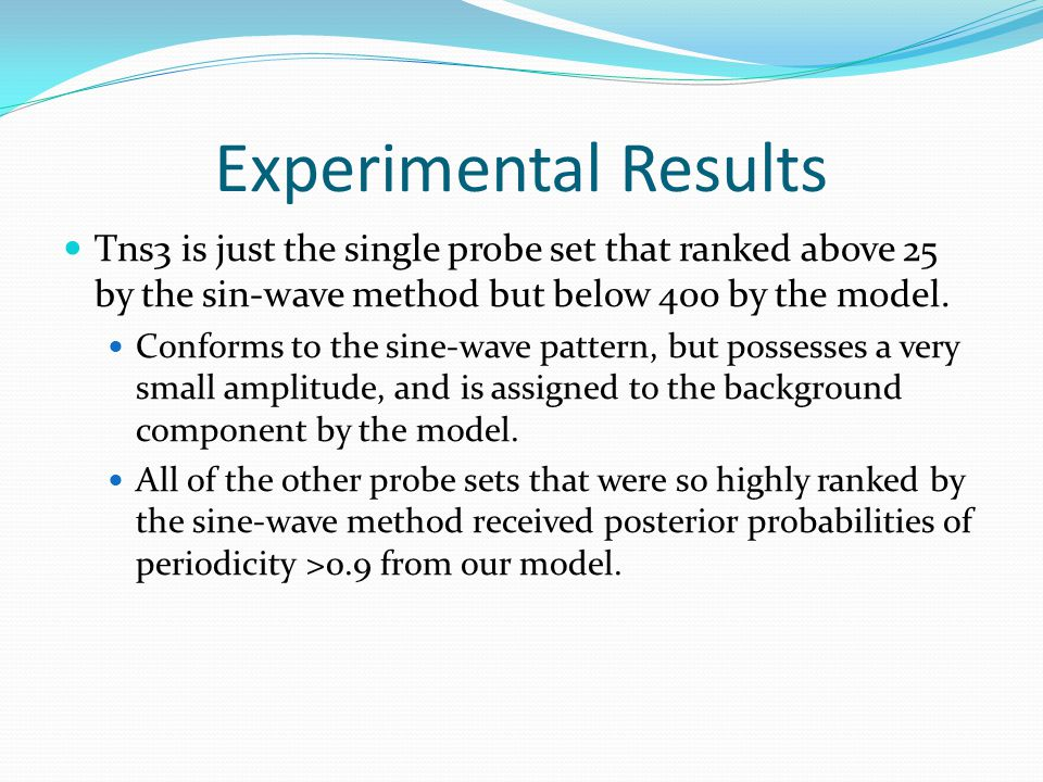 Tns3 is just the single probe set that ranked above 25 by the sin-wave method but below 400 by the model.