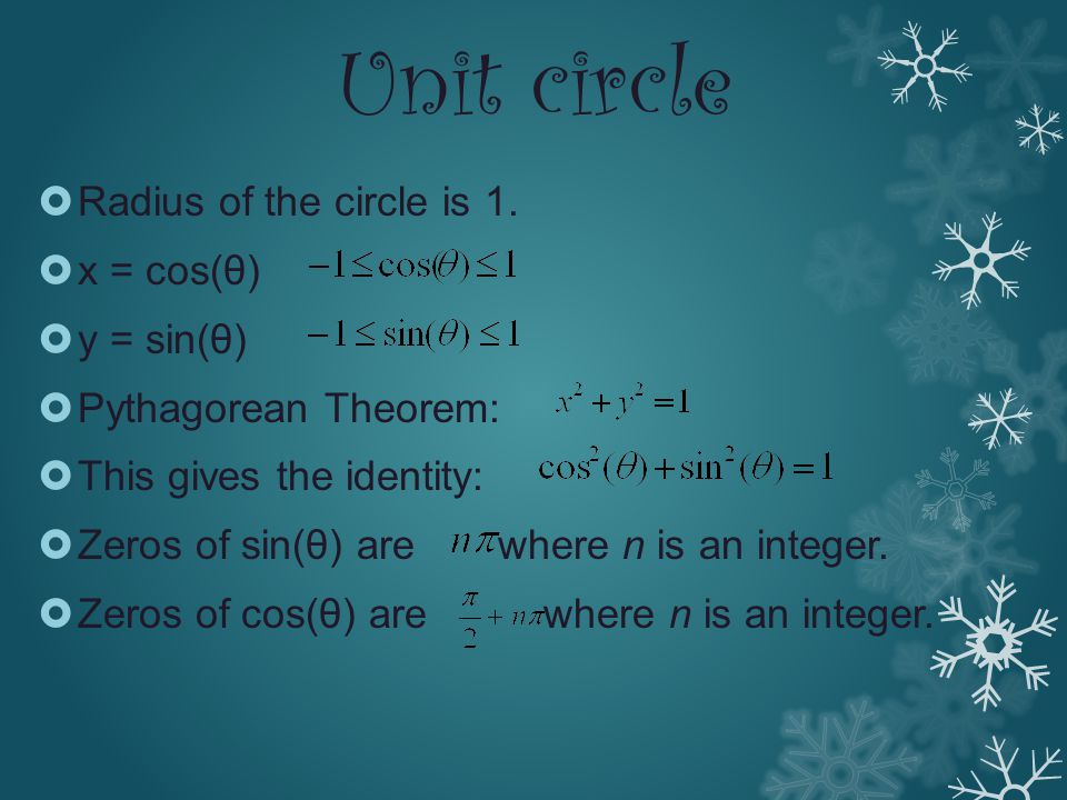 Unit circle  Radius of the circle is 1.  x = cos(θ)  y = sin(θ)  Pythagorean Theorem:  This gives the identity:  Zeros of sin(θ) are where n is
