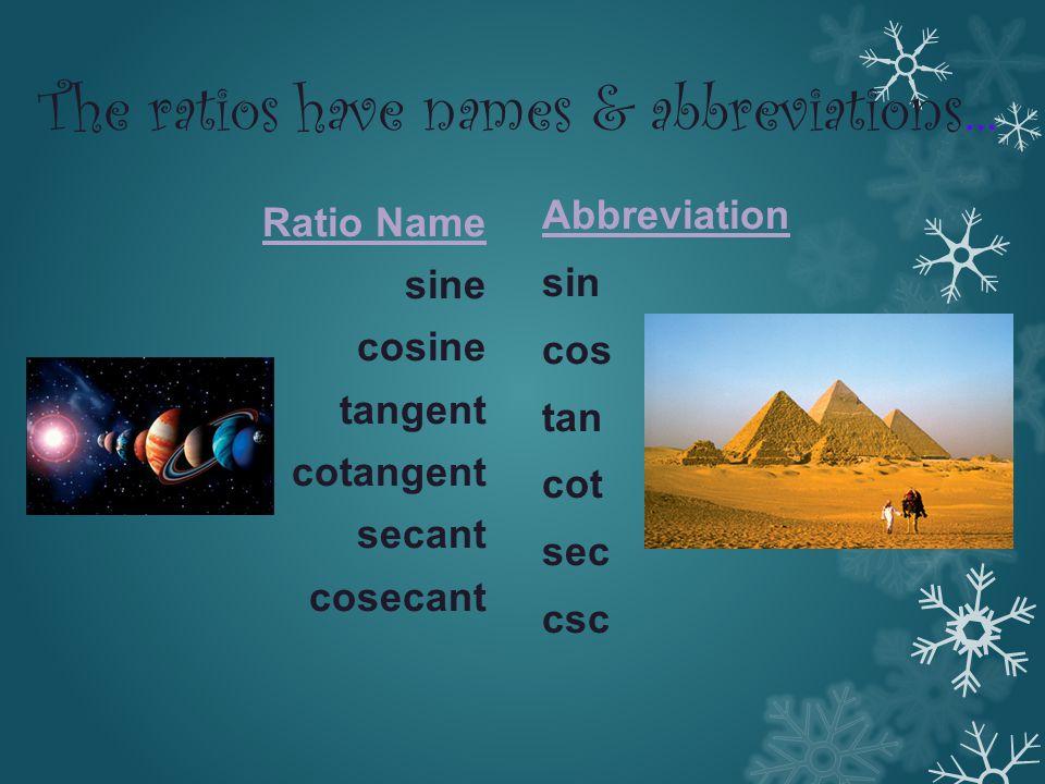 The ratios have names & abbreviations … Ratio Name sine cosine tangent cotangent secant cosecant Abbreviation sin cos tan cot sec csc