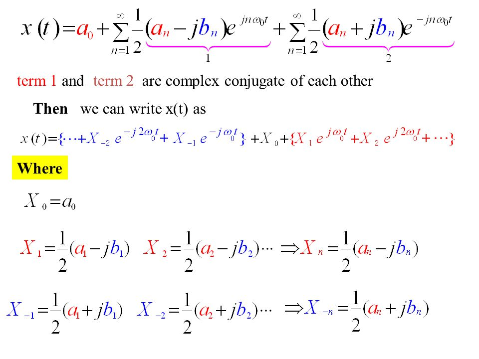 term 1 and term 2 are complex conjugate of each other Then we can write x(t) as Where