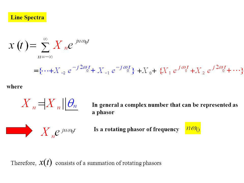 Line Spectra where In general a complex number that can be represented as a phasor Is a rotating phasor of frequency Therefore, x(t) consists of a sum
