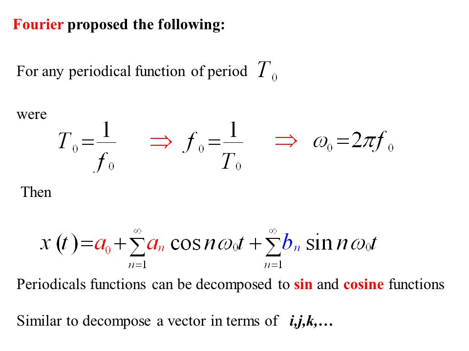 Fourier proposed the following: For any periodical function of period were Then Periodicals functions can be decomposed to sin and cosine functions Si