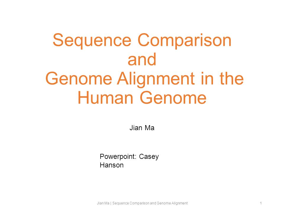 Sequence Comparison and Genome Alignment in the Human Genome Jian Ma Jian Ma | Sequence Comparison and Genome Alignment1 Powerpoint: Casey Hanson
