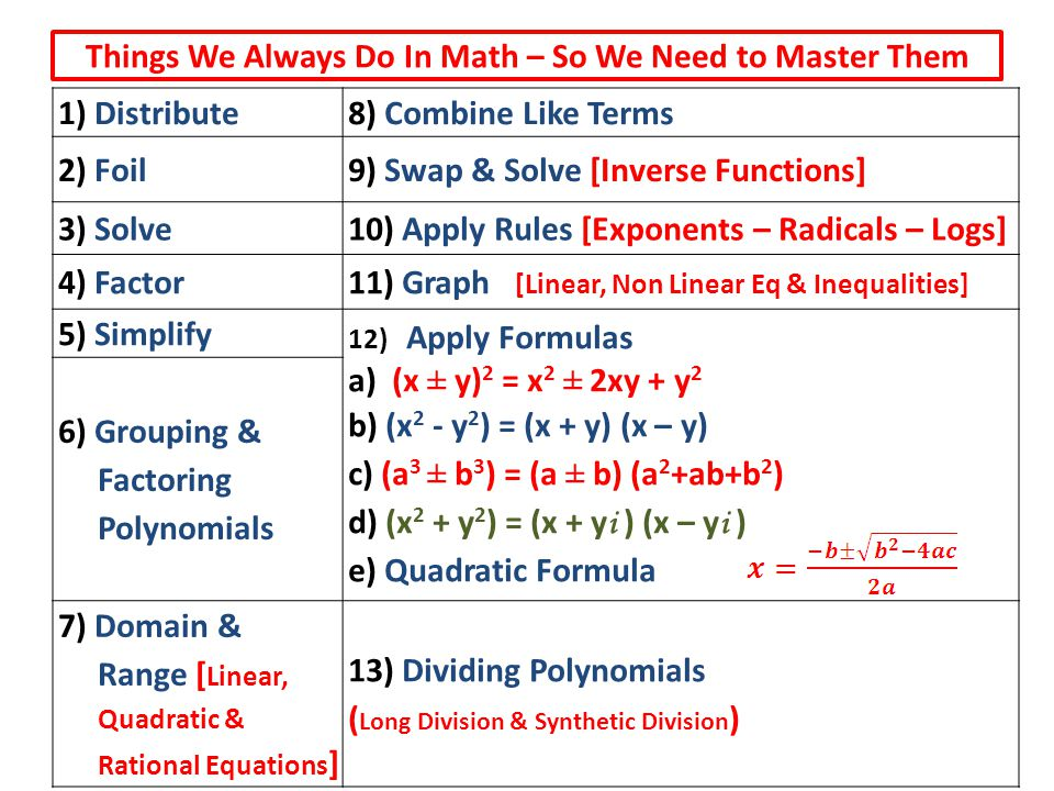 Things We Always Do In Math – So We Need to Master Them 1) Distribute8) Combine Like Terms 2) Foil9) Swap & Solve [Inverse Functions] 3) Solve10) Appl