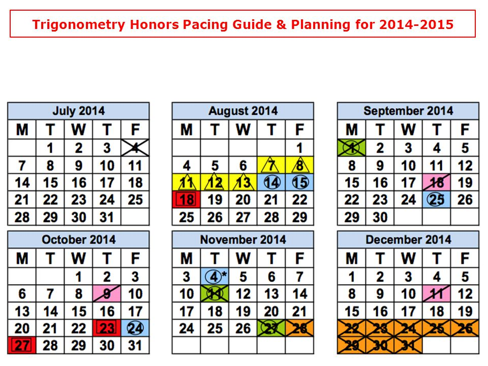 Trigonometry Honors Pacing Guide & Planning for 2014-2015