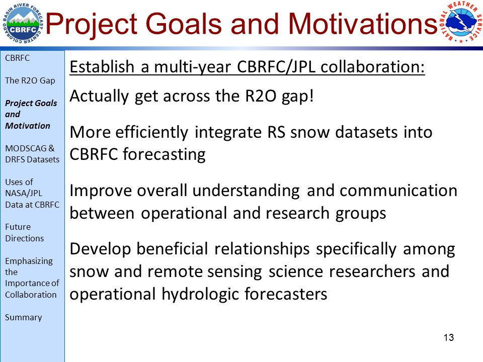 Project Goals and Motivations 13 Establish a multi-year CBRFC/JPL collaboration: Actually get across the R2O gap.