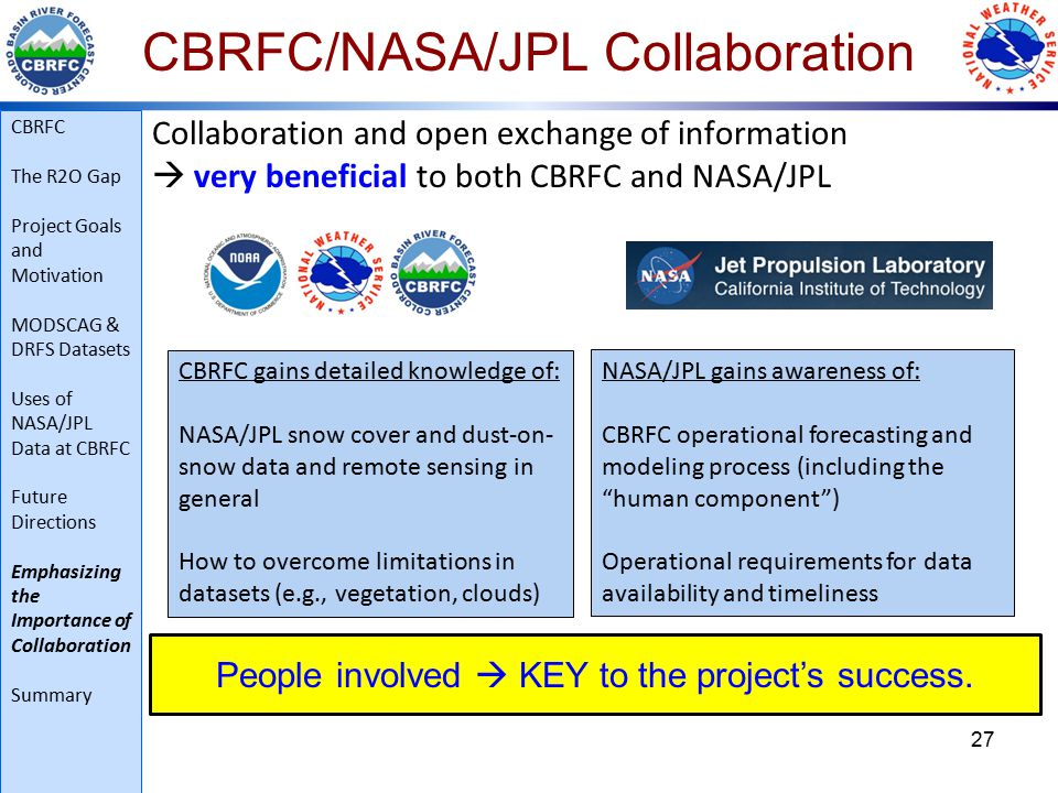 CBRFC/NASA/JPL Collaboration Collaboration and open exchange of information  very beneficial to both CBRFC and NASA/JPL 27 CBRFC gains detailed knowledge of: NASA/JPL snow cover and dust-on- snow data and remote sensing in general How to overcome limitations in datasets (e.g., vegetation, clouds) NASA/JPL gains awareness of: CBRFC operational forecasting and modeling process (including the human component ) Operational requirements for data availability and timeliness People involved  KEY to the project's success.