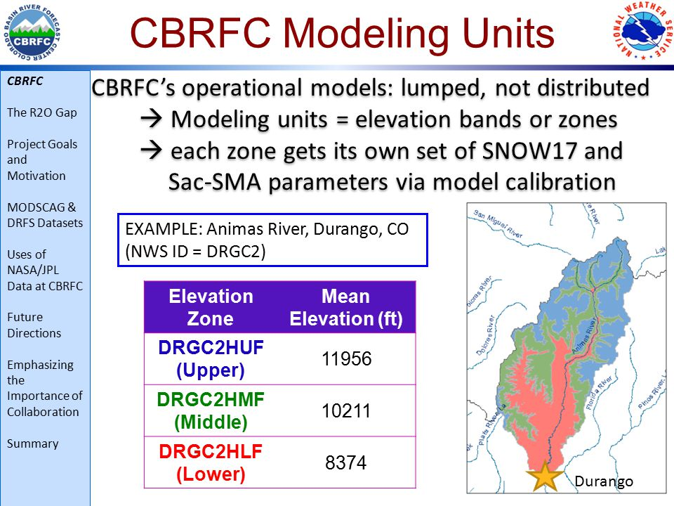 CBRFC Modeling Units CBRFC's operational models: lumped, not distributed  Modeling units = elevation bands or zones  each zone gets its own set of SNOW17 and Sac-SMA parameters via model calibration CBRFC's operational models: lumped, not distributed  Modeling units = elevation bands or zones  each zone gets its own set of SNOW17 and Sac-SMA parameters via model calibration EXAMPLE: Animas River, Durango, CO (NWS ID = DRGC2) Durango Elevation Zone Mean Elevation (ft) DRGC2HUF (Upper) 11956 DRGC2HMF (Middle) 10211 DRGC2HLF (Lower) 8374 CBRFC The R2O Gap Project Goals and Motivation MODSCAG & DRFS Datasets Uses of NASA/JPL Data at CBRFC Future Directions Emphasizing the Importance of Collaboration Summary