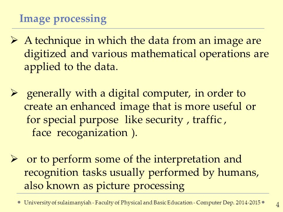 Image processing(spatial &frequency domain) 5 The following diagram shows the image processing method in both spatial and frequency domain.