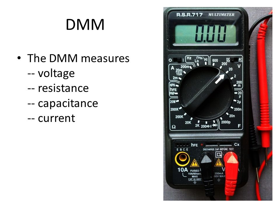 DMM examples 1 Set the DMM to read 20 volts full scale DC.