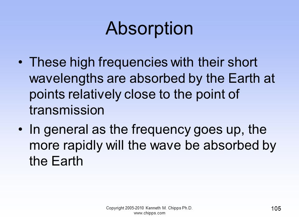 Absorption These high frequencies with their short wavelengths are absorbed by the Earth at points relatively close to the point of transmission In ge