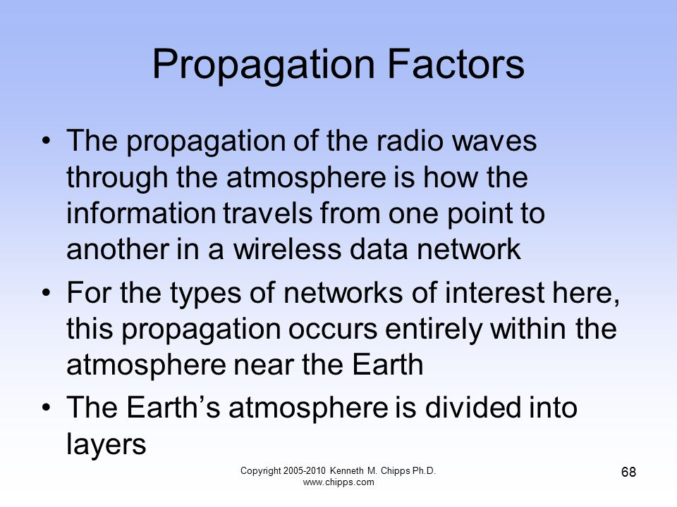 Propagation Factors The propagation of the radio waves through the atmosphere is how the information travels from one point to another in a wireless d