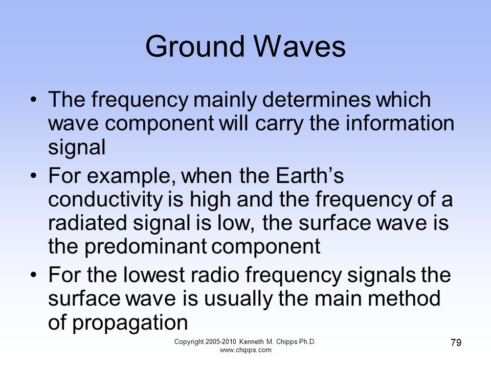 Ground Waves The frequency mainly determines which wave component will carry the information signal For example, when the Earth's conductivity is high
