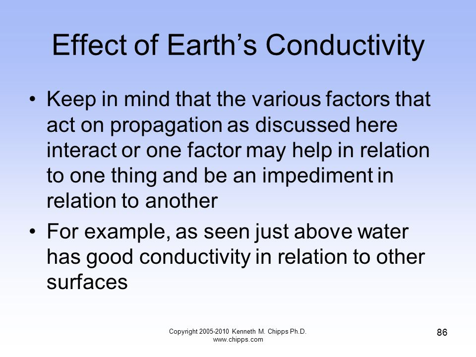 Effect of Earth's Conductivity Keep in mind that the various factors that act on propagation as discussed here interact or one factor may help in rela