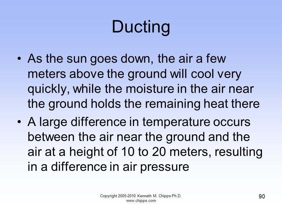 Ducting As the sun goes down, the air a few meters above the ground will cool very quickly, while the moisture in the air near the ground holds the re