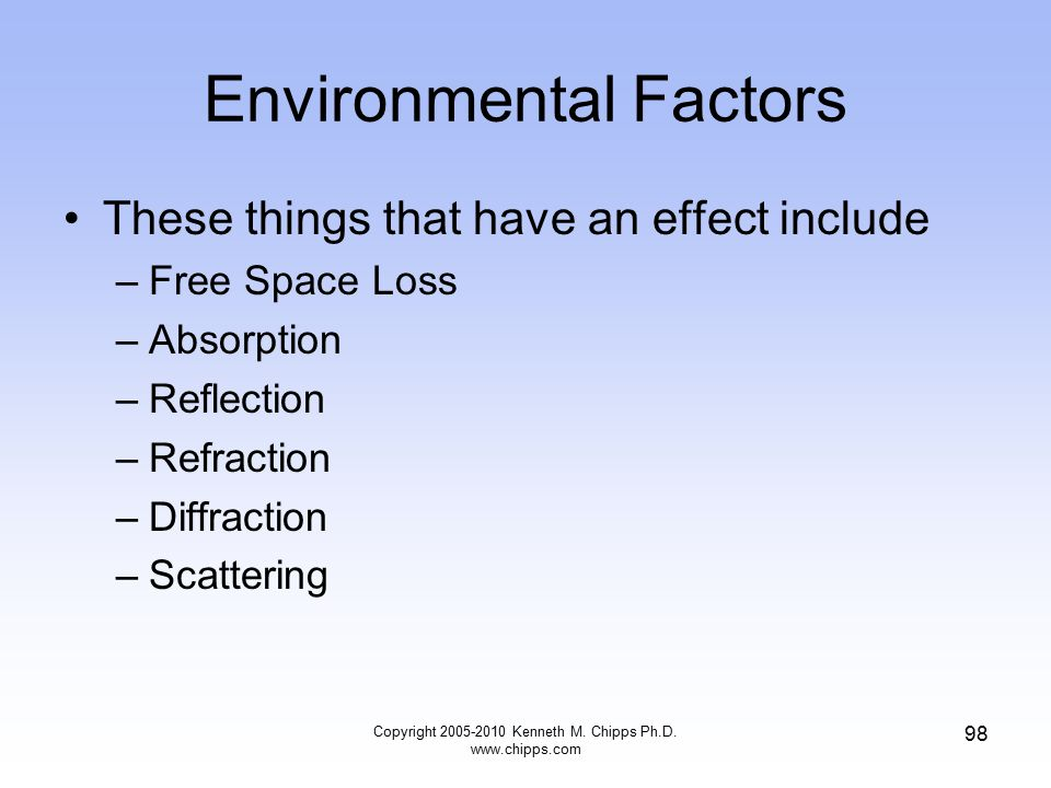 Environmental Factors These things that have an effect include –Free Space Loss –Absorption –Reflection –Refraction –Diffraction –Scattering Copyright