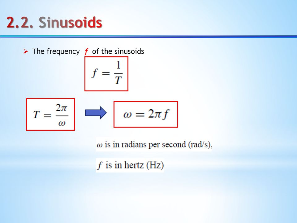  The frequency f of the sinusoids