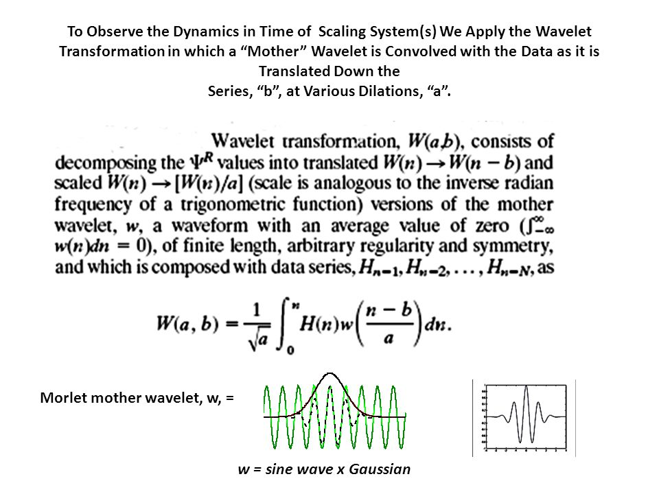 To Observe the Dynamics in Time of Scaling System(s) We Apply the Wavelet Transformation in which a Mother Wavelet is Convolved with the Data as it is Translated Down the Series, b , at Various Dilations, a .