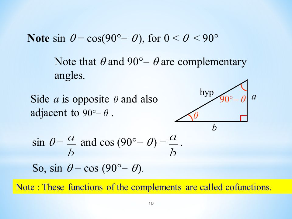 10 Note : These functions of the complements are called cofunctions. Note sin  = cos(90    ), for 0 <  < 90  Note that  and 90    are comple