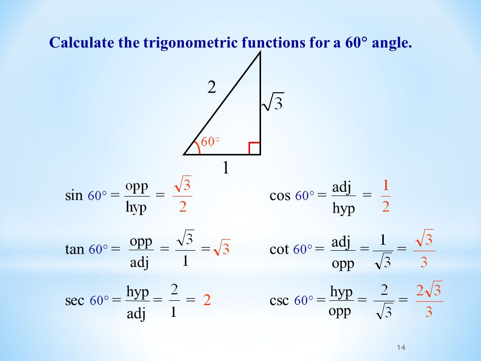 14 Calculate the trigonometric functions for a 60  angle.