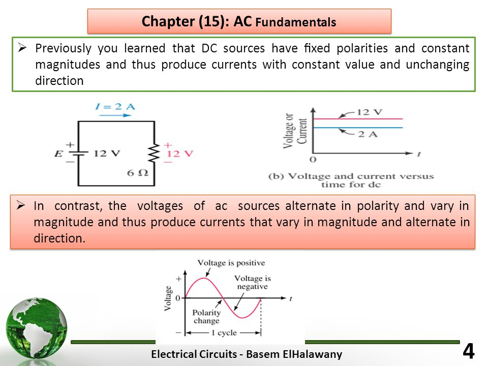 Electrical Circuits - Basem ElHalawany 4 Chapter (15): AC Fundamentals  Previously you learned that DC sources have fixed polarities and constant magnitudes and thus produce currents with constant value and unchanging direction  In contrast, the voltages of ac sources alternate in polarity and vary in magnitude and thus produce currents that vary in magnitude and alternate in direction.
