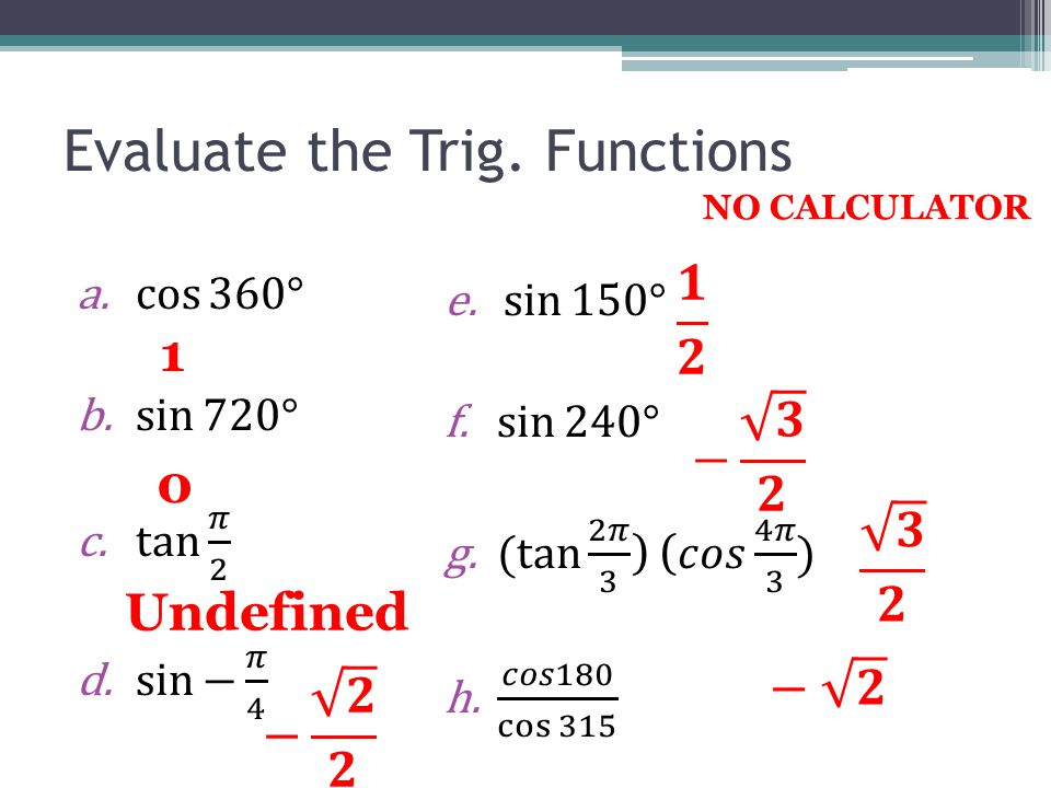 Evaluate the Trig. Functions NO CALCULATOR 1 0 Undefined