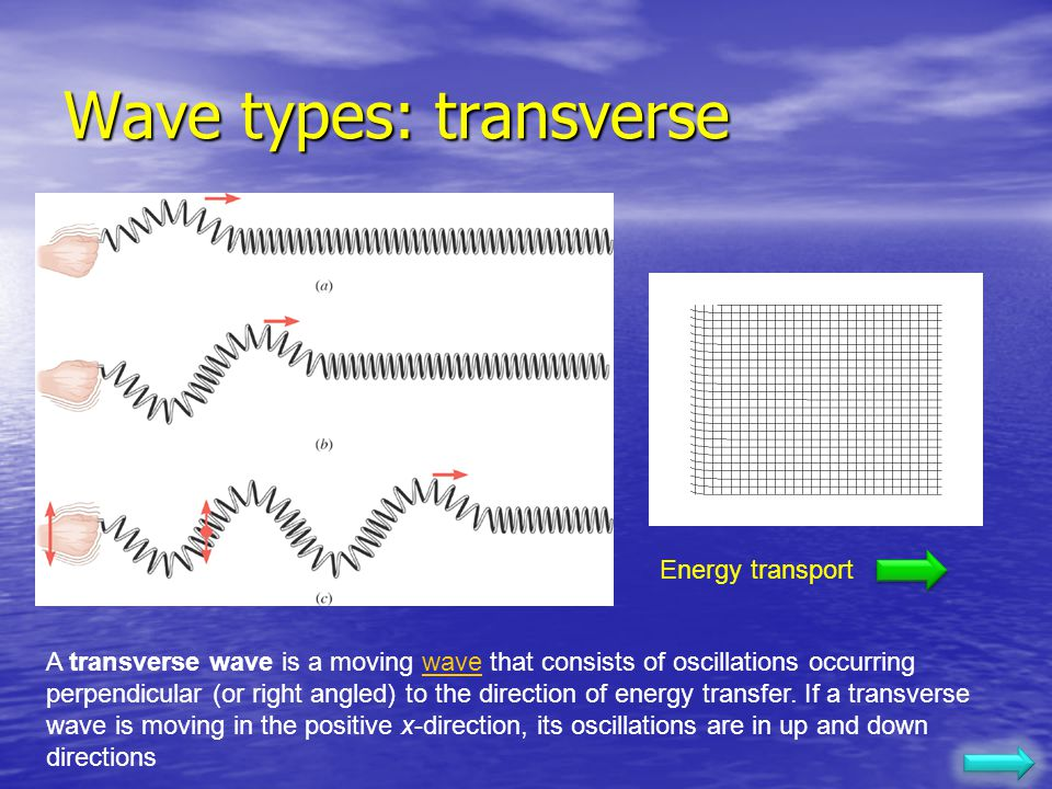 Wave Types A transverse wave is a wave in which particles of the medium move in a direction perpendicular to the direction which the wave moves. Examp