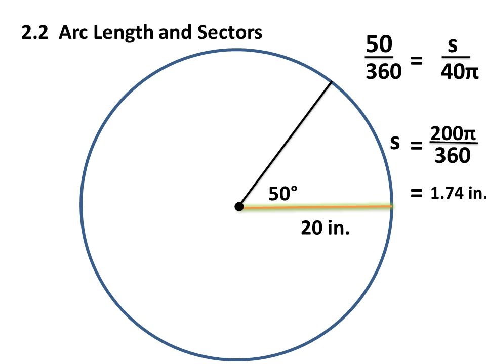 50° 2.2 Arc Length and Sectors s 50 s 360 40π = 20 in. 200π 360 = = 1.74 in.