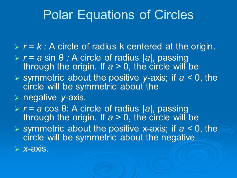 Polar Equations of Circles   r = k : A circle of radius k centered at the origin.