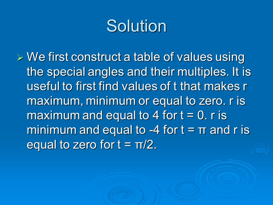 Solution  We first construct a table of values using the special angles and their multiples. It is useful to first find values of t that makes r maxi