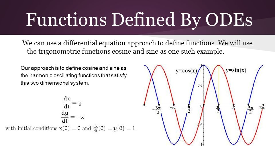 Functions Defined By ODEs We can use a differential equation approach to define functions. We will use the trigonometric functions cosine and sine as