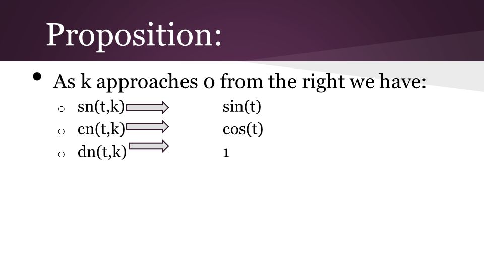 Proposition: As k approaches 0 from the right we have: o sn(t,k)sin(t) o cn(t,k)cos(t) o dn(t,k)1
