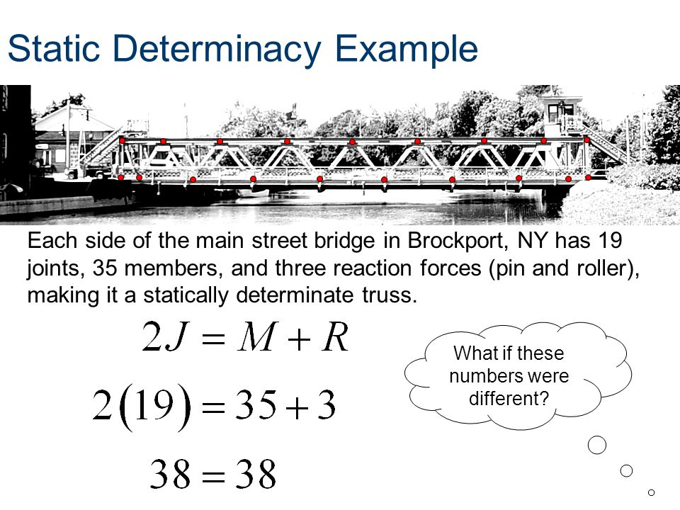 Each side of the main street bridge in Brockport, NY has 19 joints, 35 members, and three reaction forces (pin and roller), making it a statically det