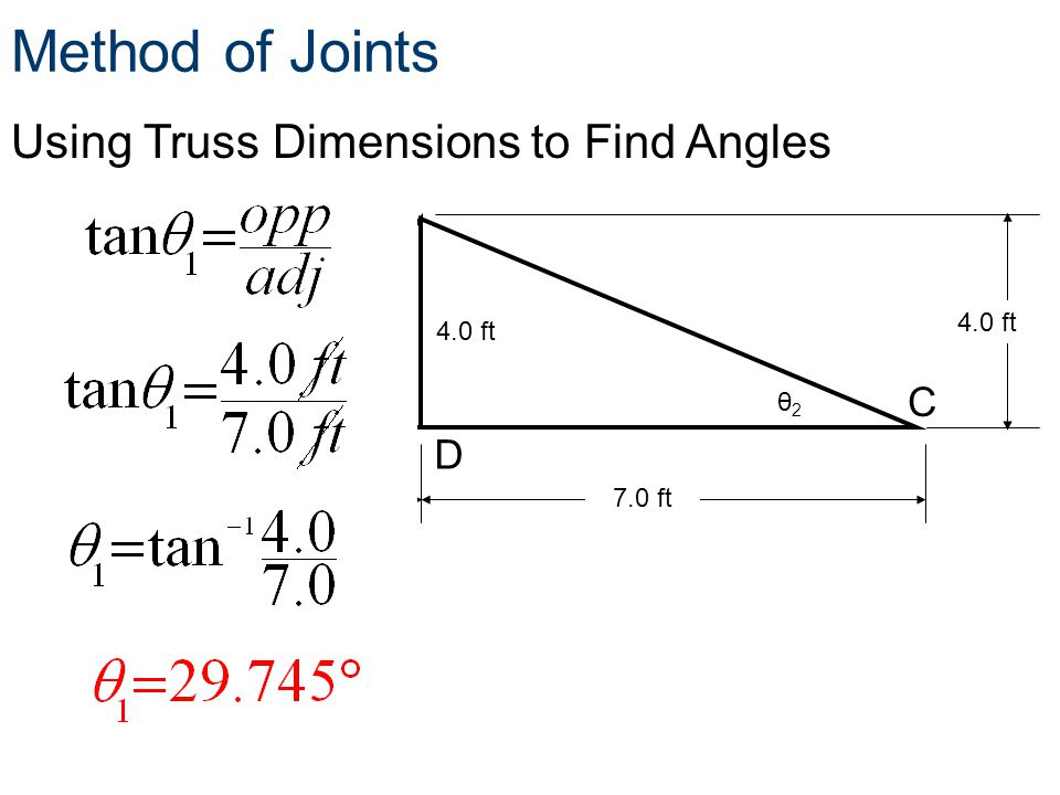 Using Truss Dimensions to Find Angles 3.0 ft7.0 ft 4.0 ft Method of Joints C A D B θ1θ1 θ2θ2 4.0 ft