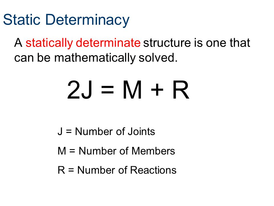 Static Determinacy A statically determinate structure is one that can be mathematically solved. J = Number of Joints M = Number of Members R = Number