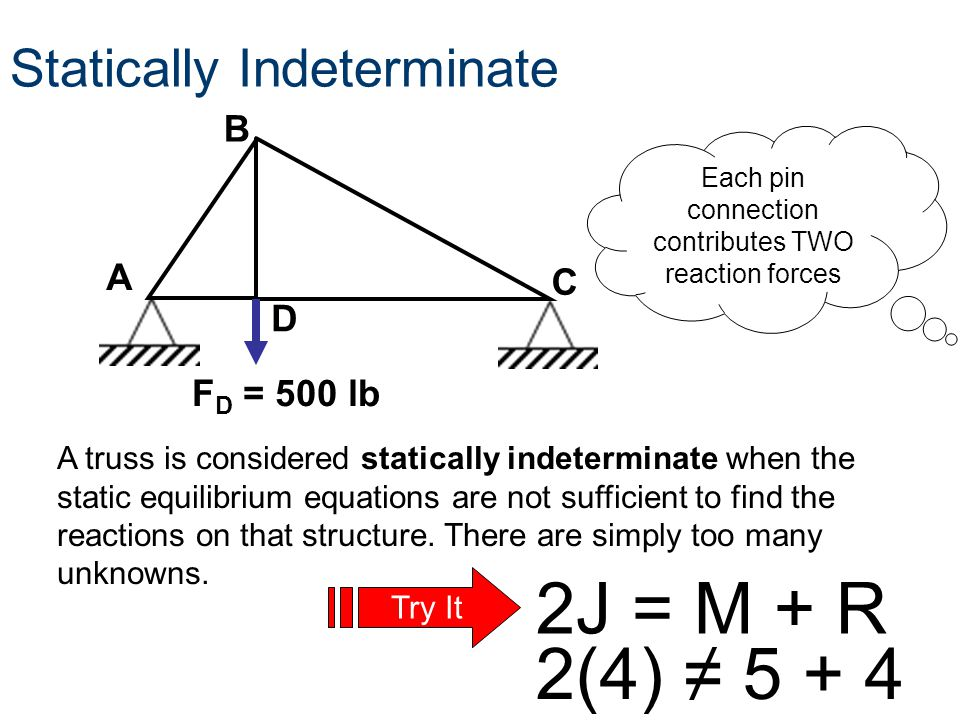 A truss is considered statically indeterminate when the static equilibrium equations are not sufficient to find the reactions on that structure. There