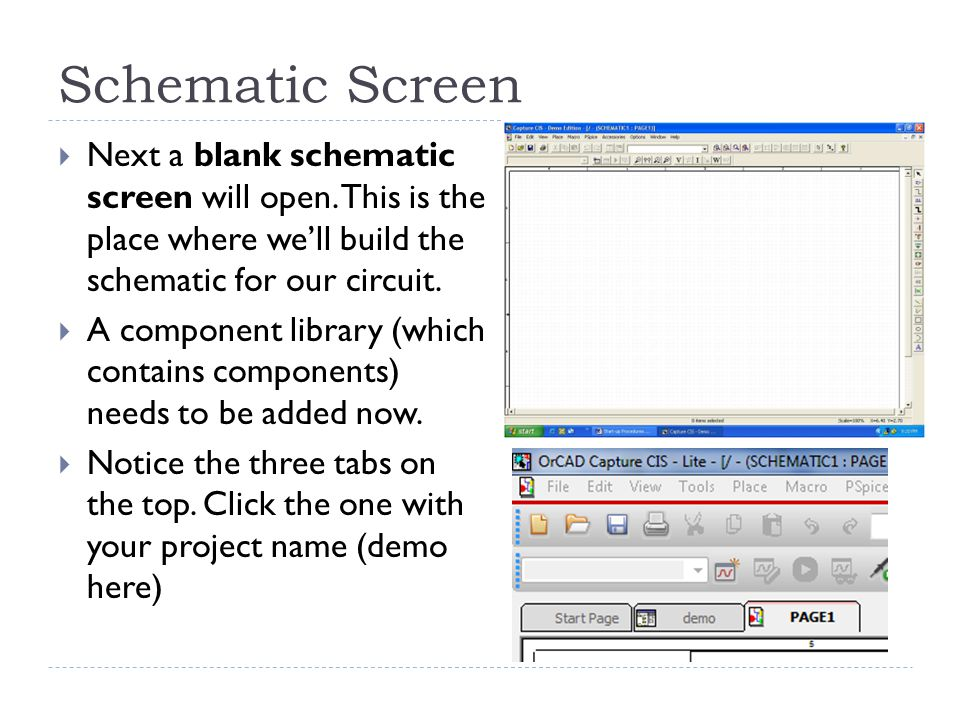 Schematic Screen  Next a blank schematic screen will open.