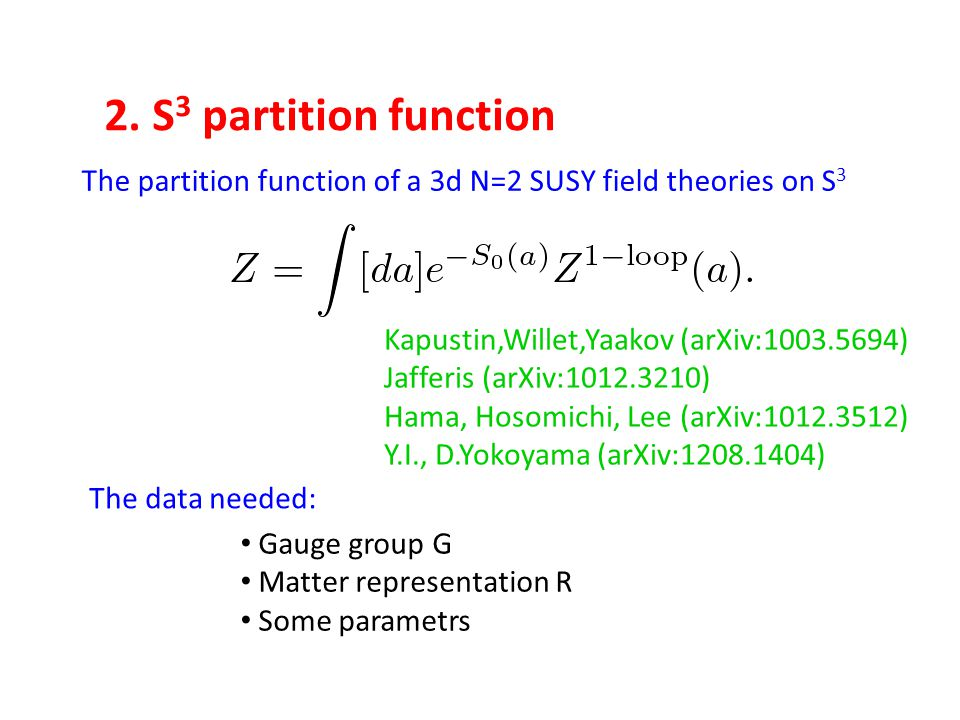 Gauge group G Matter representation R Some parametrs The partition function of a 3d N=2 SUSY field theories on S 3 The data needed: Kapustin,Willet,Ya