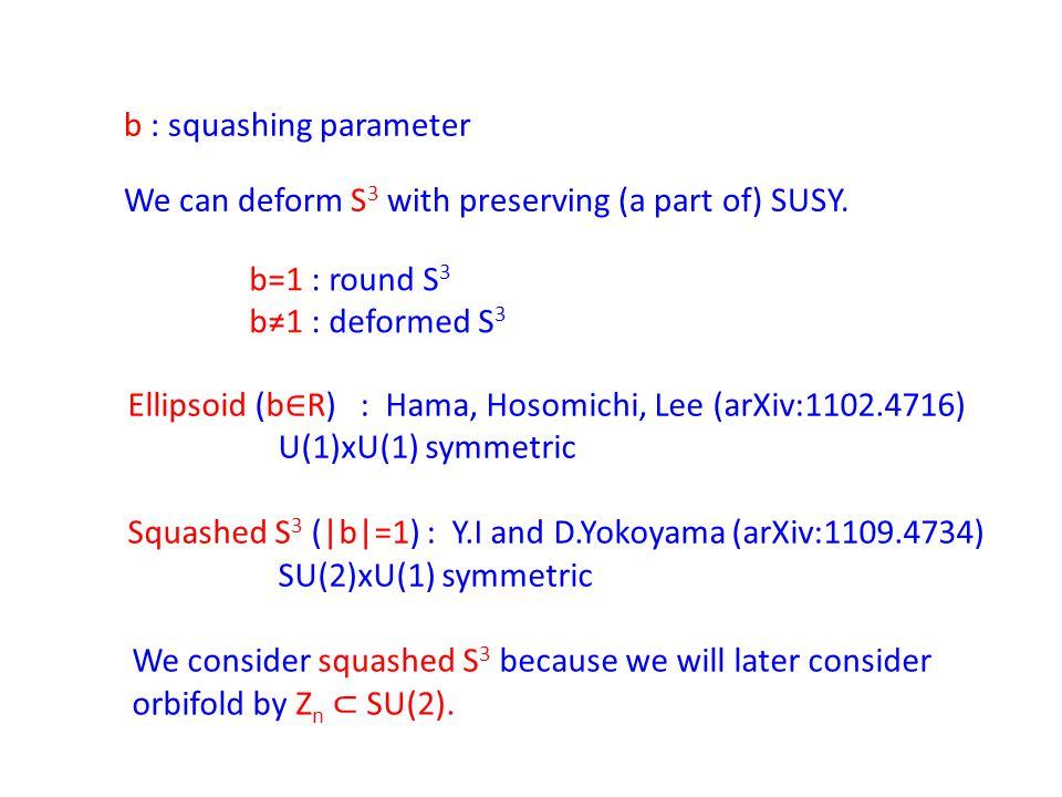 b : squashing parameter b=1 : round S 3 b≠1 : deformed S 3 Ellipsoid (b ∈ R) : Hama, Hosomichi, Lee (arXiv:1102.4716) U(1)xU(1) symmetric Squashed S 3