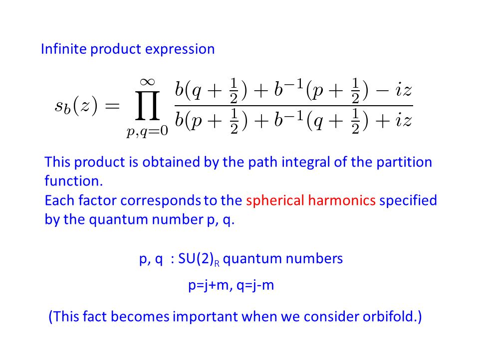 Infinite product expression p, q : SU(2) R quantum numbers p=j+m, q=j-m This product is obtained by the path integral of the partition function.