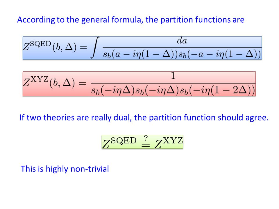 According to the general formula, the partition functions are If two theories are really dual, the partition function should agree.