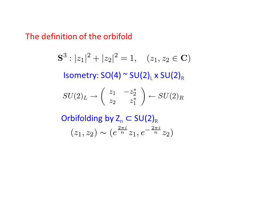 Isometry: SO(4) ~ SU(2) L x SU(2) R Orbifolding by Z n ⊂ SU(2) R The definition of the orbifold