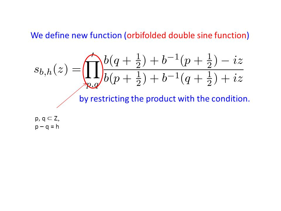 We define new function (orbifolded double sine function) by restricting the product with the condition. p, q ⊂ Z + p – q = h