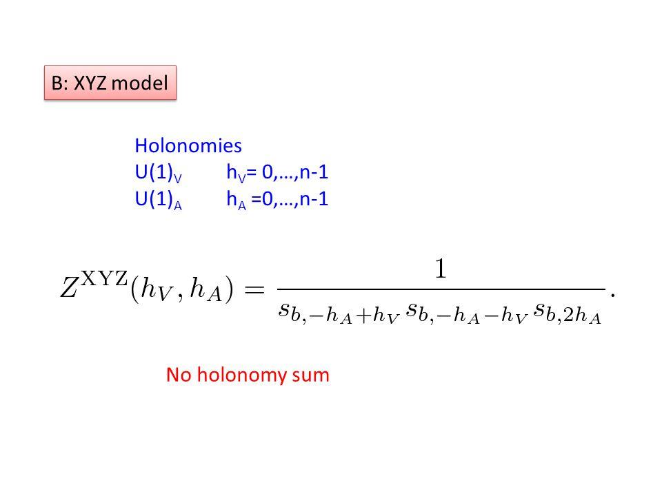 Holonomies U(1) V h V = 0,…,n-1 U(1) A h A =0,…,n-1 B: XYZ model No holonomy sum