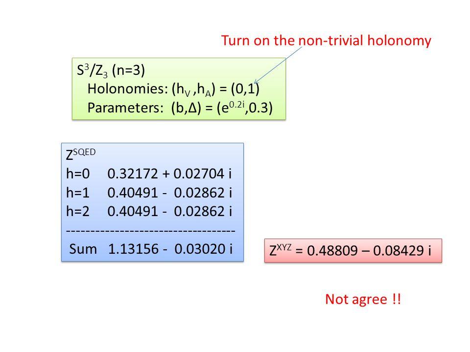 Z SQED h=0 0.32172 + 0.02704 i h=1 0.40491 - 0.02862 i h=2 0.40491 - 0.02862 i ----------------------------------- Sum 1.13156 - 0.03020 i Z SQED h=0