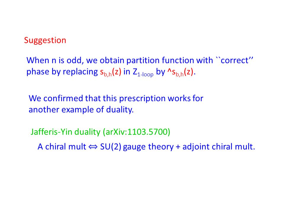 When n is odd, we obtain partition function with ``correct'' phase by replacing s b,h (z) in Z 1-loop by ^s b,h (z). We confirmed that this prescripti