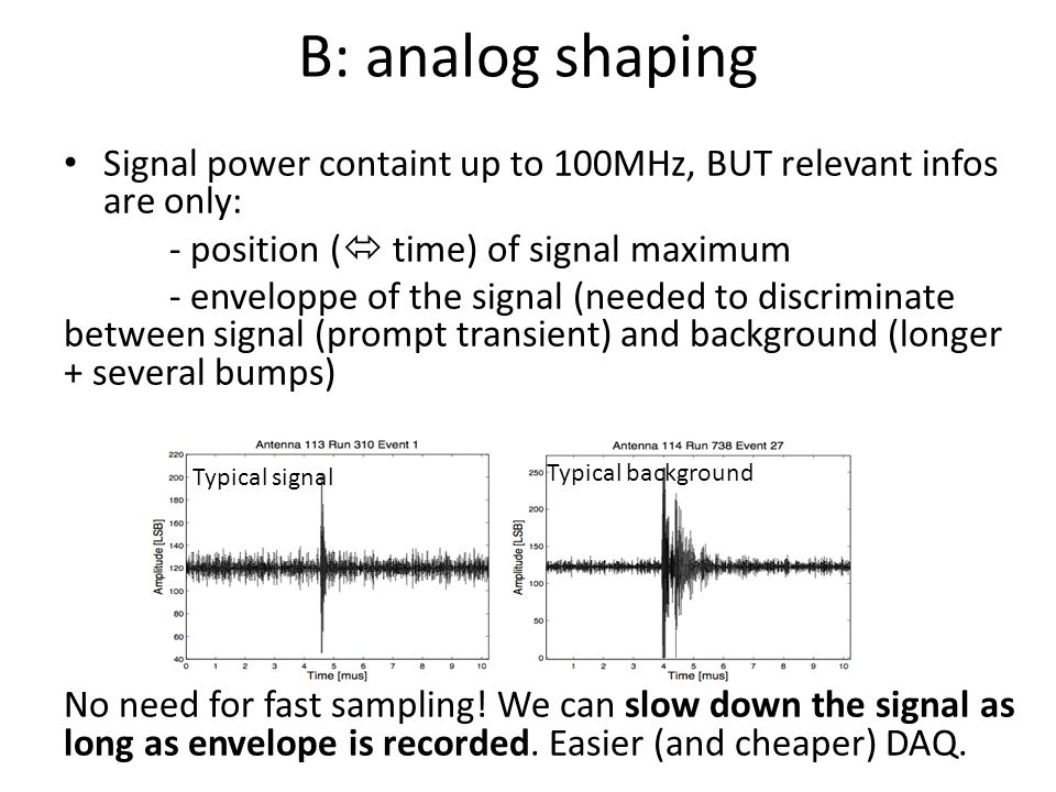 B: analog shaping Signal power containt up to 100MHz, BUT relevant infos are only: - position (  time) of signal maximum - enveloppe of the signal (needed to discriminate between signal (prompt transient) and background (longer + several bumps) No need for fast sampling.