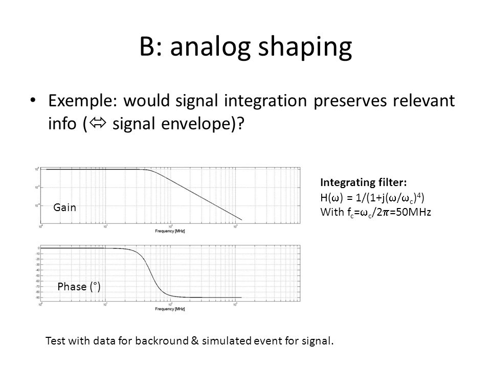 B: analog shaping Exemple: would signal integration preserves relevant info (  signal envelope).