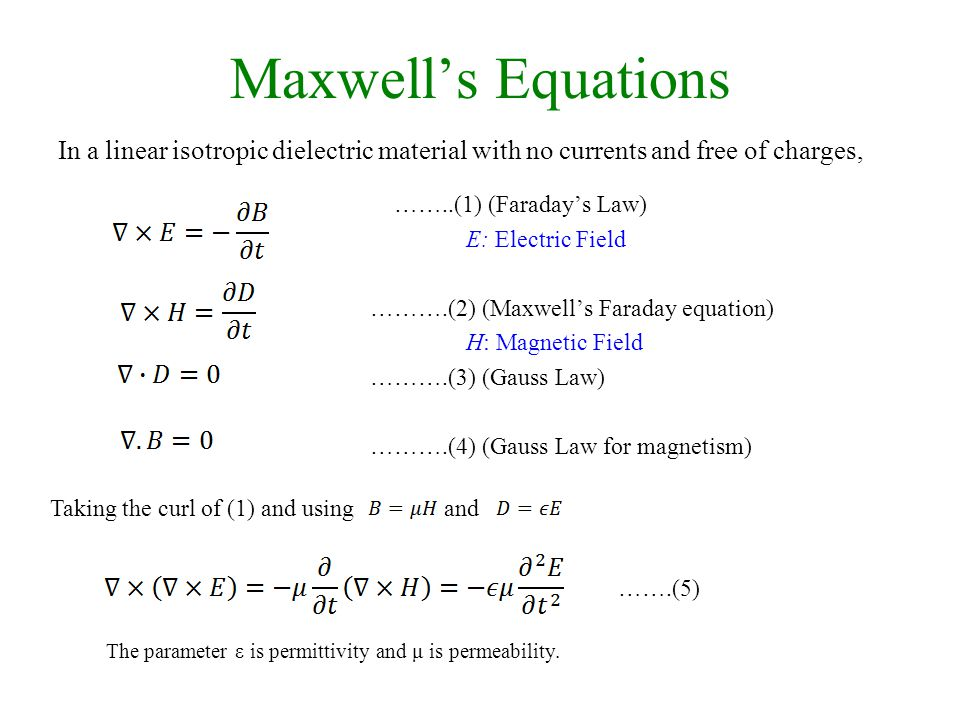 Maxwell's Equations ……..(1) (Faraday's Law) E: Electric Field ……….(2) (Maxwell's Faraday equation) H: Magnetic Field ……….(3) (Gauss Law) ……….(4) (Gauss Law for magnetism) Taking the curl of (1) and using and The parameter ε is permittivity and μ is permeability.