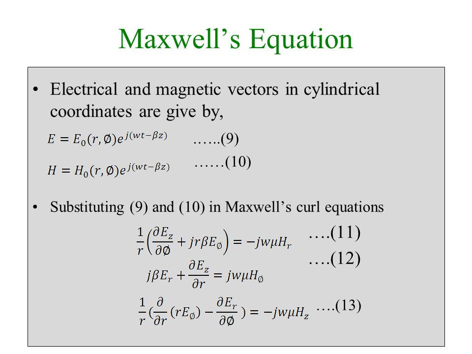 Maxwell's Equation Electrical and magnetic vectors in cylindrical coordinates are give by,.…..(9) ……(10) Substituting (9) and (10) in Maxwell's curl equations ….(11) ….(12) ….(13)